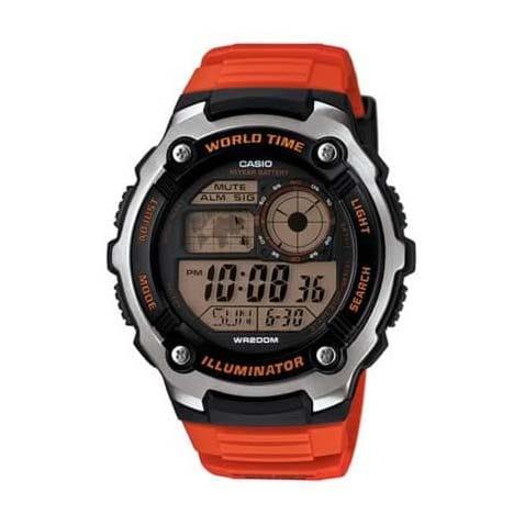 Reloj Casio AE-2100W-4AVEF de hombre NEW con caja de resina y correa de caucho naranja 200mts