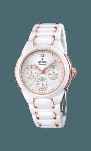 Reloj Festina F16699/5 de mujer NEW con caja y brazalete de cerámica blanca y oro rosa de 18 K