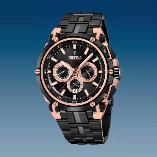 f3a569b52459 Reloj Festina F20329 1 de hombre NEW con caja de acero ip oro rosa y ...