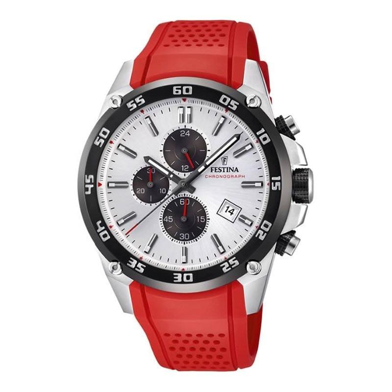 Reloj Festina F203301 de hombre NEW con caja de acero y correa de caucho roja The Originals