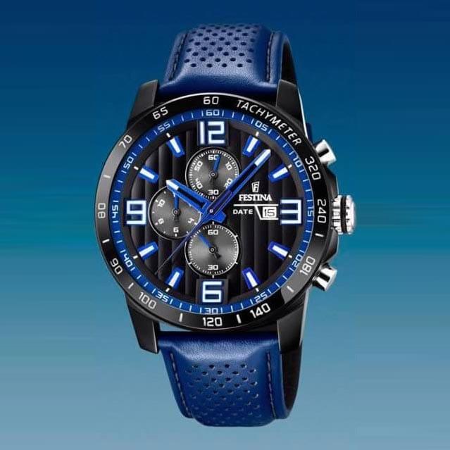 Reloj Festina F203394 de hombre NEW con caja de acero ip black y correa de piel azul The Originals