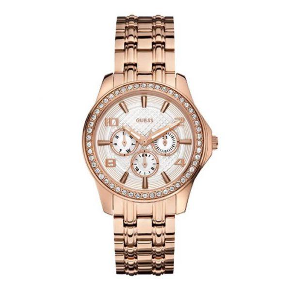 Reloj Guess W0147L3 de mujer con caja y brazalete de acero chapado en oro rosa de 18 k