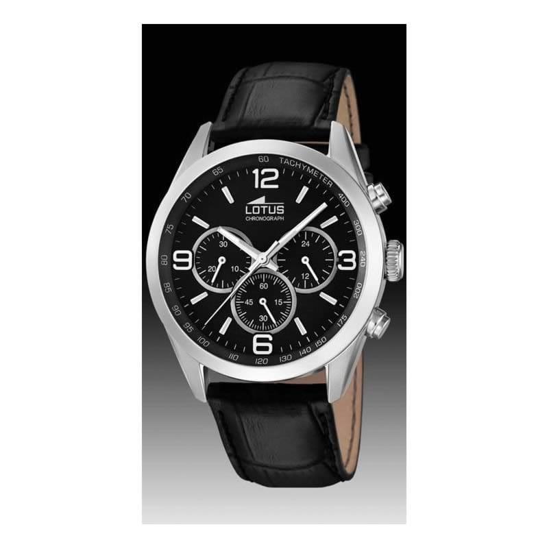 Reloj Lotus de hombre Minimalist en negro con correa de
