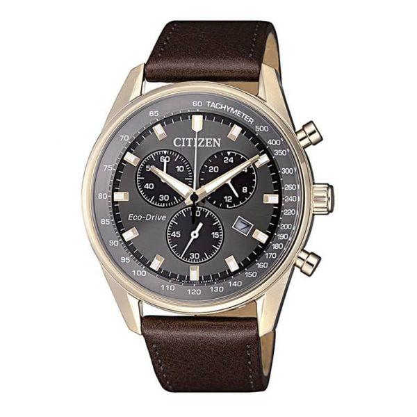 Reloj Citizen AT2393-17H de hombre NEW con caja de acero ip oro rosa y correa de piel marrón Chrono Sport