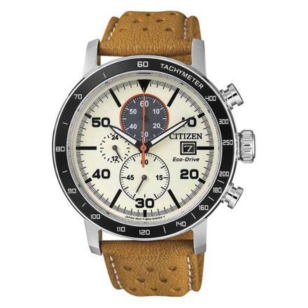 Reloj Citizen CA0641-16X de hombre NEW con caja de acero y correa de piel beige Chrono Sport