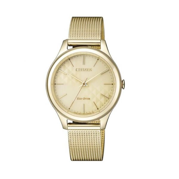 Reloj Citizen EM0502-86P de mujer NEW con caja y brazalete de acero chapado en oro Eco-Drive Lady