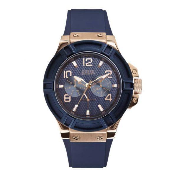 Reloj Guess W0247G3 NEW de hombre con caja de acero ip oro rosa y correa de poliuretano azul