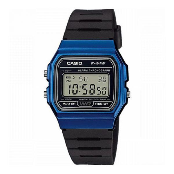 Reloj Casio F-91WM-2AEF de hombre NEW con caja de resina azul y correa de caucho Casio Collection