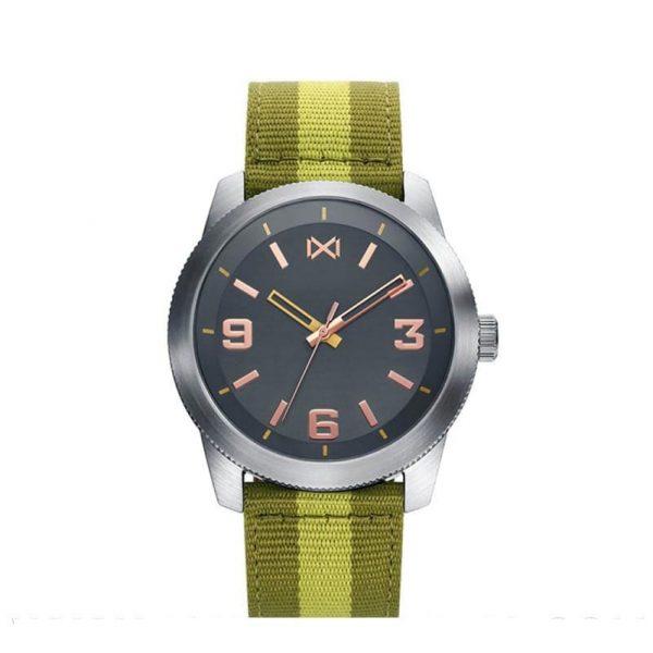Reloj Mark Maddox HC0100-45 de hombre NEW con caja de acero y correa de nylon verde Mission