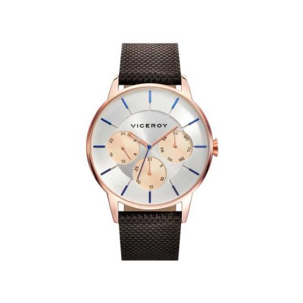 Reloj VIceroy 471143-07 de hombre NEW con caja de acero rosa y correa de nylon multifunción Collours