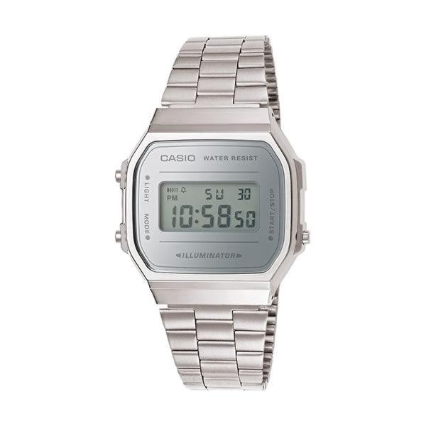 Reloj Casio unisex A168WEM-7EF con caja de resina, correa de acero inoxidable y cierre ajustable