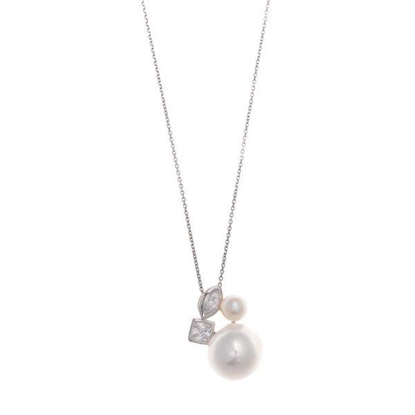 colgante de slavatore plata para mujer de plata y perlas