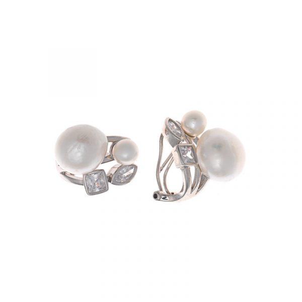 pendientes de salvatore plata para mujer con perlas de agua dulce y circonitas