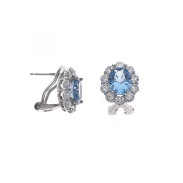 pendientes de salvatore plata para mujer de plata con circonita ovaloazul